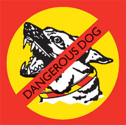 Red and yellow dangerous dog sign