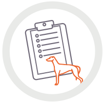 Icon of greyhound and clipboard