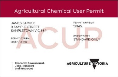 Sample agricultural chemical user permit issued by Agriculture Victoria, which includes the permit holder's name and address, and the permit type, number and expiry