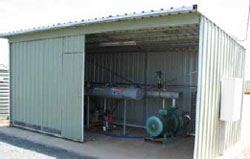 Shed housing sub-surface drip control, pump and filter systems