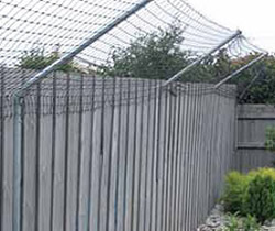 Wire cat proof mesh attached to the top portion of a backyard fence