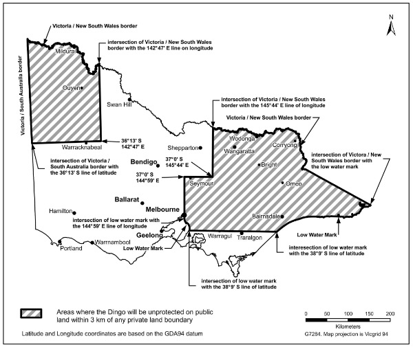 Map showing areas where the dingo is unprotected on public land within 3 kilometres of any private boundary