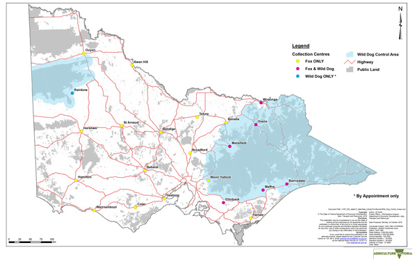 Map of Victorian wild dog control areas