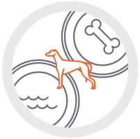 Icon of greyhound with food and water bowl