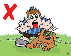 Cartoon of child scaring a dog
