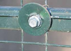 Metal mesh panel fixed with Tec screws and washers, description in next step